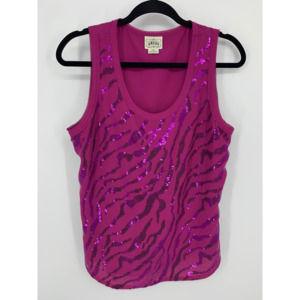 Ariat purple L zebra sequin tank blouse
